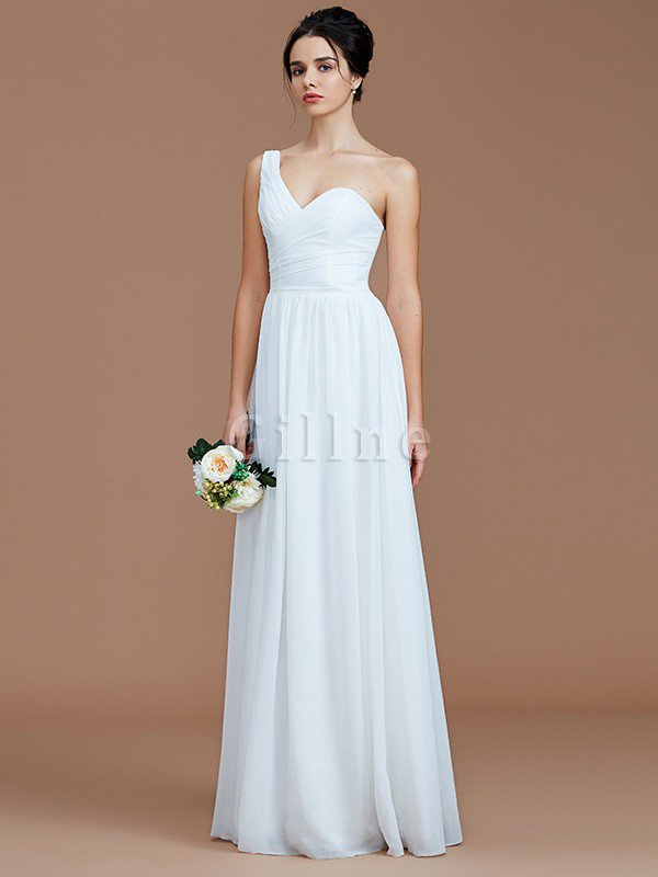 Floor Length A-Line One Shoulder Sleeveless Bridesmaid Dress