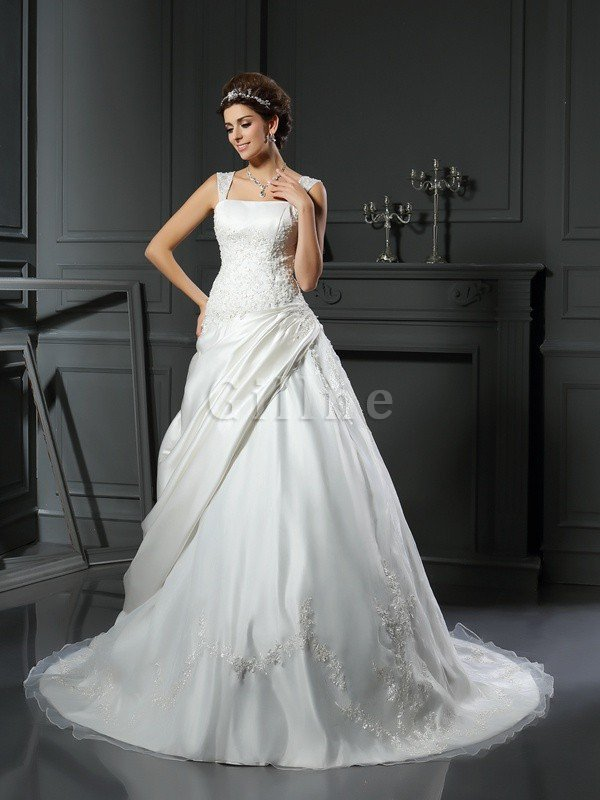 Empire Waist Ball Gown Appliques Chapel Train Lace-up Wedding Dress