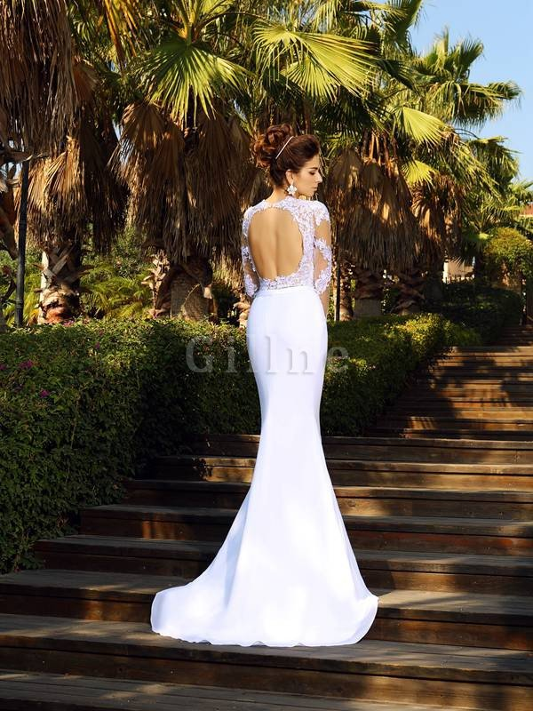 Appliques Natural Waist Lace-up Sheath Scoop Wedding Dress
