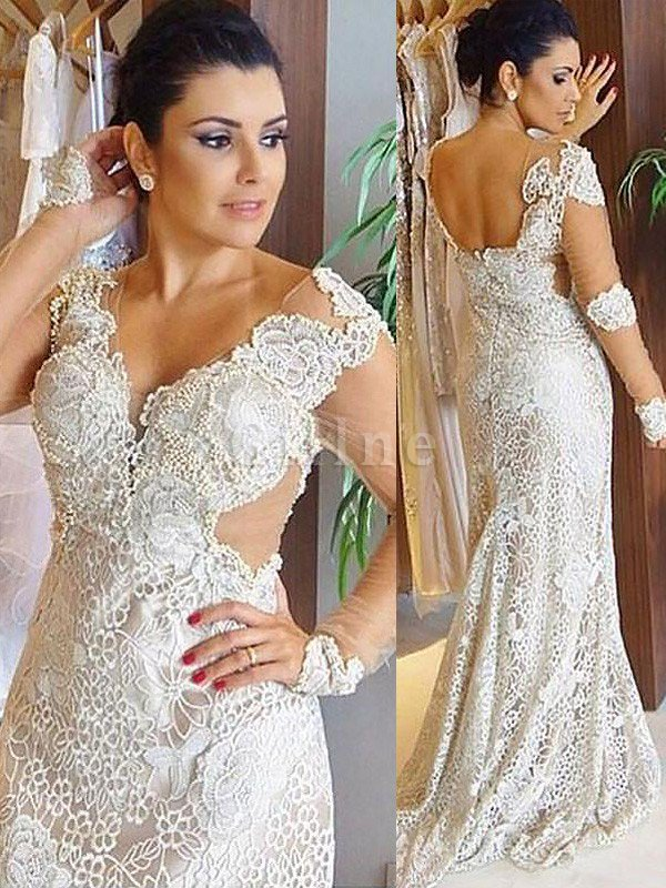 Sweep Train Long Sleeves V-Neck Natural Waist Lace Wedding Dress