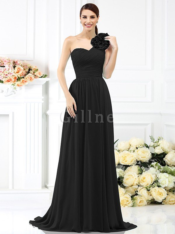 Chiffon A-Line One Shoulder Long Flowers Bridesmaid Dress