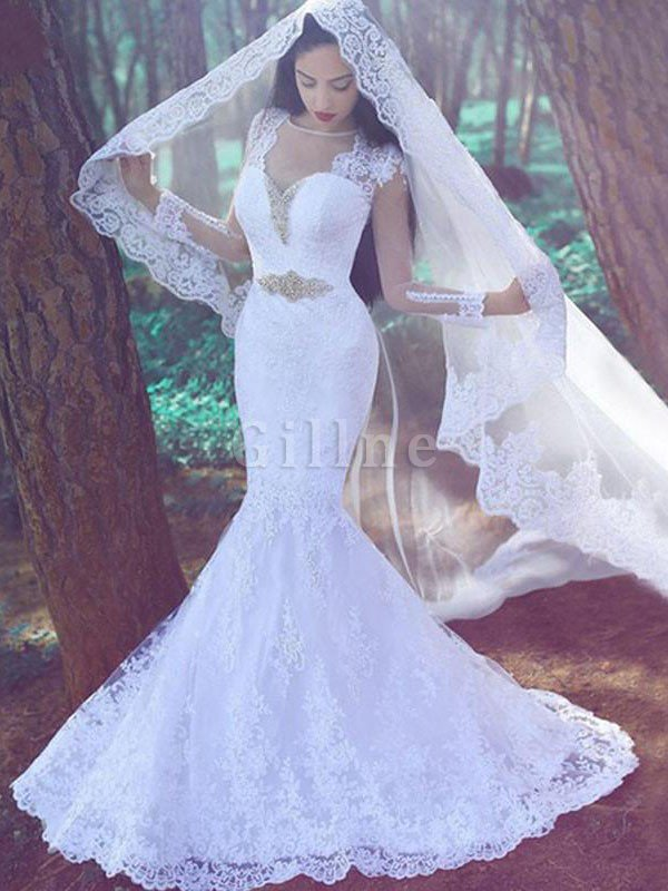 Appliques Natural Waist Long Sleeves Sweetheart Lace Wedding Dress