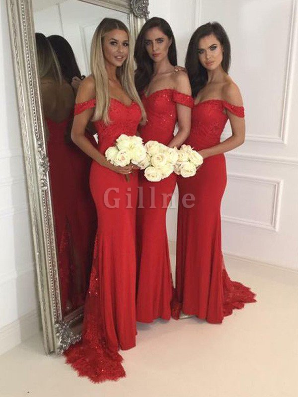 Off The Shoulder Natural Waist Floor Length Mermaid Sleeveless Bridesmaid Dress