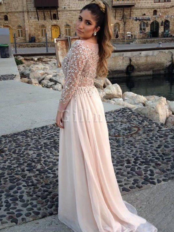 Plus Size Apple Long Sleeves Natural Waist Misses Evening Dress