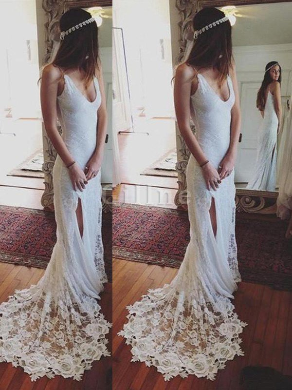 Sheath Lace Spaghetti Straps Court Train Natural Waist Wedding Dress