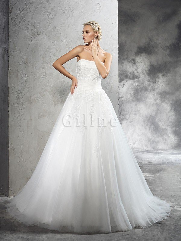 Natural Waist Lace-up Long Ball Gown Appliques Wedding Dress
