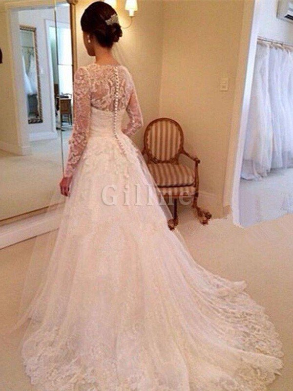 Tulle Natural Waist Long Sleeves V-Neck Lace Wedding Dress