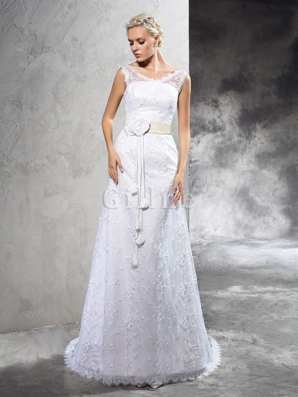 Natural Waist Satin Long Sleeveless Lace-up Wedding Dress