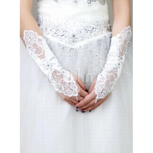 Satin Sequin White Chic | Modern Bridal Gloves