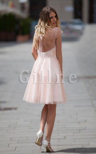 Capped Sleeves A-Line Knee Length Pleated Tulle Homecoming Dress