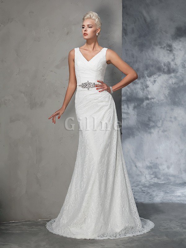Sleeveless Mermaid V-Neck Lace Natural Waist Wedding Dress