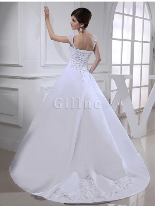 Wide Straps Beading Ball Gown Court Train Wedding Dress