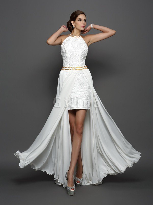 High Neck Princess Empire Waist Sleeveless Long Wedding Dress