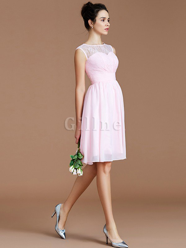 Natural Waist Lace Chiffon A-Line Bridesmaid Dress