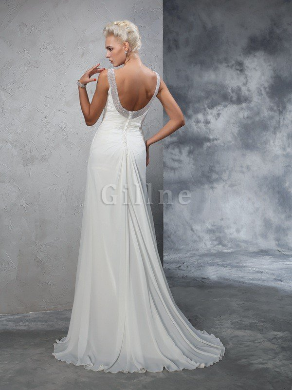 Ruched Mermaid Wide Straps Chiffon Wedding Dress