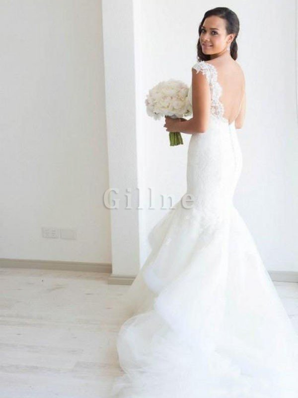 Chapel Train Sleeveless Spaghetti Straps Mermaid Natural Waist Wedding Dress