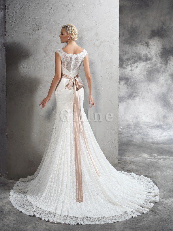 Lace Court Train Sashes Sheath Sleeveless Wedding Dress